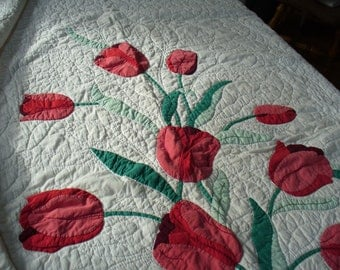 Quilt, Red Tulips,  Vintage Quilt with Appliqued Tulips in Red and Green