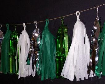 ONLY 15.99, 20 Tassel St Patricks Tissue Paper Garland, Green Decorations, St. Patrick's Banner, Fringe Garland, Pom, Irish, Balloon Tassels