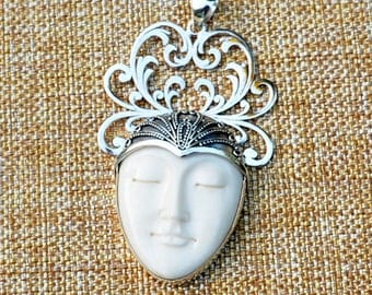 Sterling Silver Carved Bone Moon Face Pendant,Sleeping Goddess,Filigree Silver Large Pendant,Hand Carved Bone Face,One, 42428