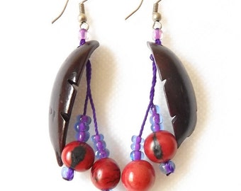 Maroon and red nutshell earrings with acai seeds, carved leaf design. Hand made in Brazil.