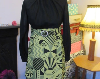 1960s/70s Belted Mini Dress with Diamante Belt Buckle with Chiffon Bodice and Psychedelic Skirt. VGC Approx Size 8-10