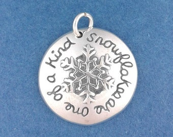 SNOWFLAKE Charm .925 Sterling Silver Snowflakes Are One Of a Kind Pendant - d35587