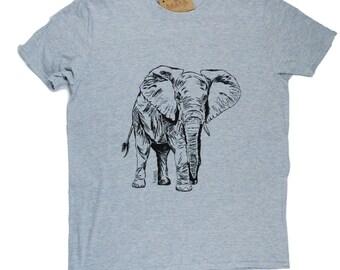 Mens TShirt - Elephant TShirt - Animal TShirt - African T Shirts - Funny Tshirt - Mens Grey Tee Shirt Funny Tees - Grey Shirts S M L XL 2XL