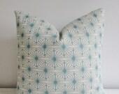 Aqua Geometric Pillow Cover 18x18, 20x20 Square Throw Pillow 16 22 24 26 Euro