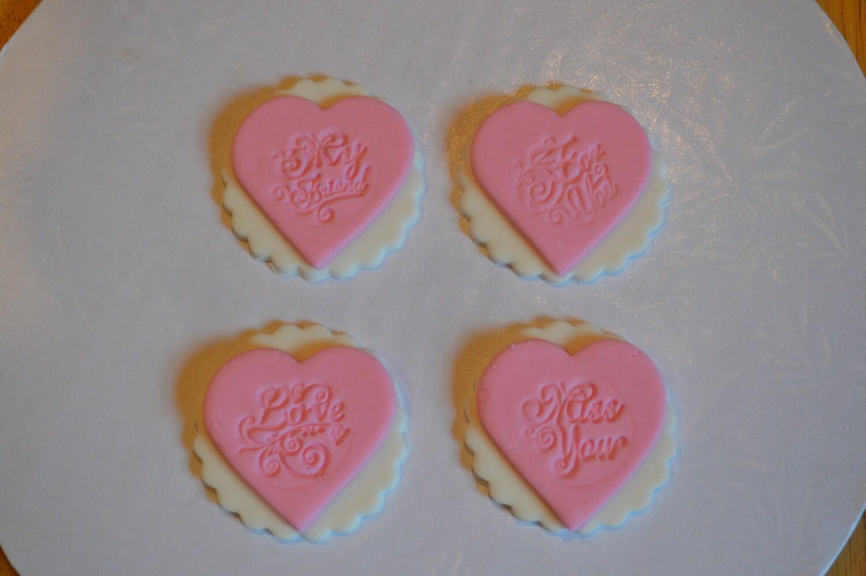 Fondant heart cupcake topper fondant love cupcake topper