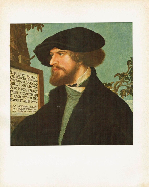 Antique print of painting by Hans Holbein the Younger of Bonifacius Amerbach, a young academic, high quality print, beautiful details, 1926