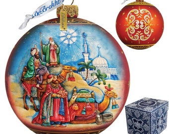 Three Kings Ball - Red Ornament - Three Kings Ornament - Religious Ornament- Glass Ornament - 73551