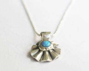 Opal necklace, Sterling silver opal pendant, Gemstone necklace, Gift for wife.