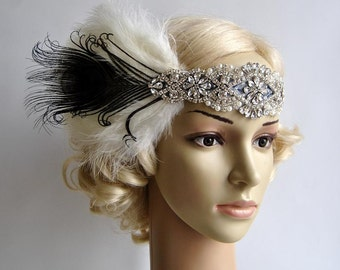 Rhinestone flapper Gatsby Crystal Headband, Wedding Headpiece, Bridal Headpiece, 1920s Flapper feathers