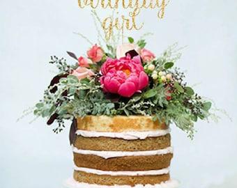 Birthday glitter cake topper, Gold Birthday cake toppers, Personalized Birthday Cake topper, Wedding Cake Topper in your Choice of Glitter