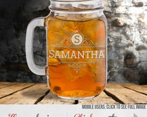 Etched Mason Jars– Wedding Party Gift