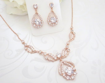 Rose Gold Necklace set, Rose Gold Bridal necklace, Wedding jewelry set, Rose Gold earrings, Crystal earrings, Vintage style necklace