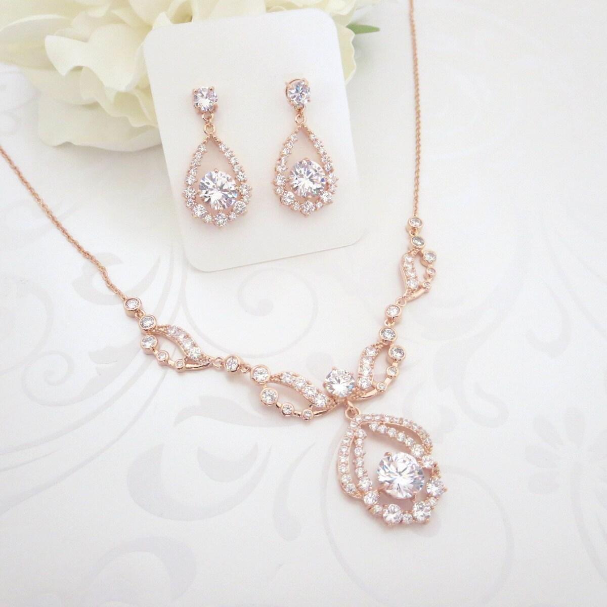 rose gold necklace set rose gold bridal necklace wedding. Black Bedroom Furniture Sets. Home Design Ideas