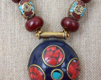 Tibetan Coral & Turquoise Bead Necklace and Earring Set