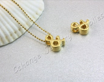 Ampersand Gold Charm, 2 pcs Gold Ampersand (&) Pendant, Matte Gold Ampersand, 24K Gold Plated Ampersand, Gold Ampersand Charm