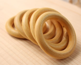 Ring Wood Beads, 2pcs Large Wooden Beads, (56mm x 9mm) Cream Wood Bead, Donut Natural Wood Beads, Craft Wood Beads, Wooden Beads