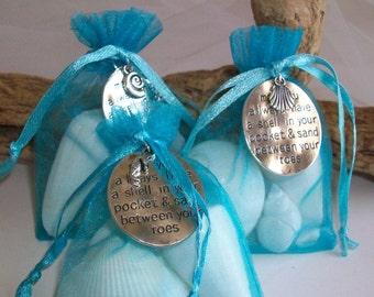 Beach Themed Seashell Gift Bag Wedding Favor, Seashell Party Favors, Well Wish Charm Gift Bag, Beach Themed Bridal Shower Favors
