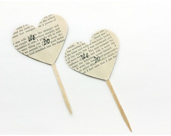 12 We Do Cupcake Toppers / Wedding Shower / Heart Cupcake Topper / Engagement Party / Bridal Shower / Wedding Candy Table / Vintage Wedding