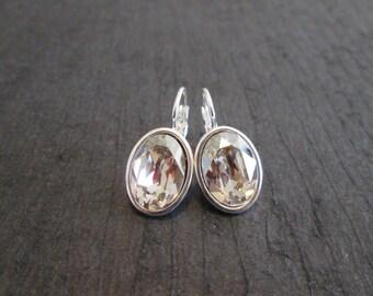 Silver Shade Crystal Bridesmaid Earrings/Silver Bridesmaid Jewelry/Silver Shade Swarovski Earrings/Oval Swarovski Earrings