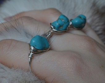 Wire Wrapped Turquoise Howlite Ring