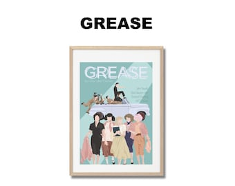 Grease Movie Print - Poster Randal Kleiser A3