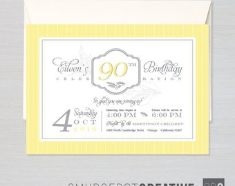 90th Birthday - Customizable Milestone Birthday, Save-the-Date, or Special Event Invitation