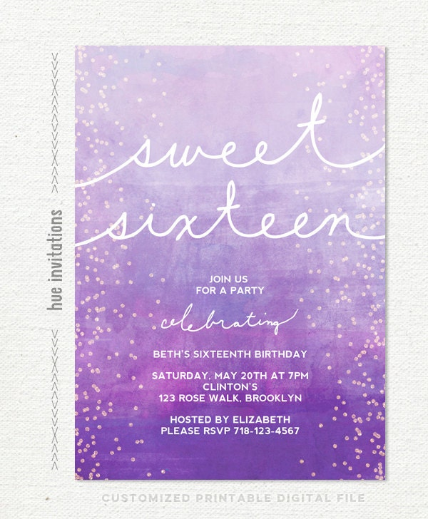 purple violet 16th birthday invitations ombre watercolor – Printable 16th Birthday Invitations