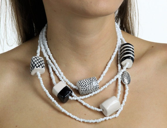 Hand made black and white necklace with ceramic beads