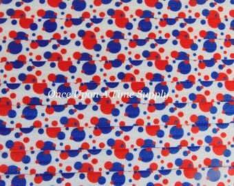 Red White Blue Polka Dot Print Fold Over Elastic for Baby Headbands 5 Yards of 5/8 inch FOE - Patriotic Elastic By The Yard - 4th of July