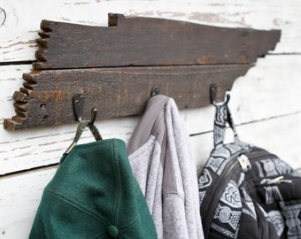 Rustic Tennessee Towel/Coat Rack Made from Reclaimed Wood