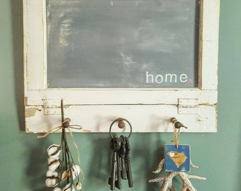Cottage Chic Old Window Chalkboard with Pegs for Hanging