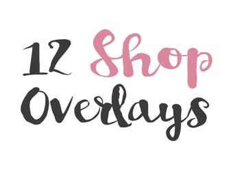 Shop Overlays-PSD-Editable Vector EPS clip art-Calligraphy-Hand drawn vectors