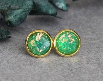 Green Stud Earrings, Gold Flake Earrings, Green Earrings, Gold Stud Earrings, Green Post Earrings, Green and Gold Earrings, Gold Earrings