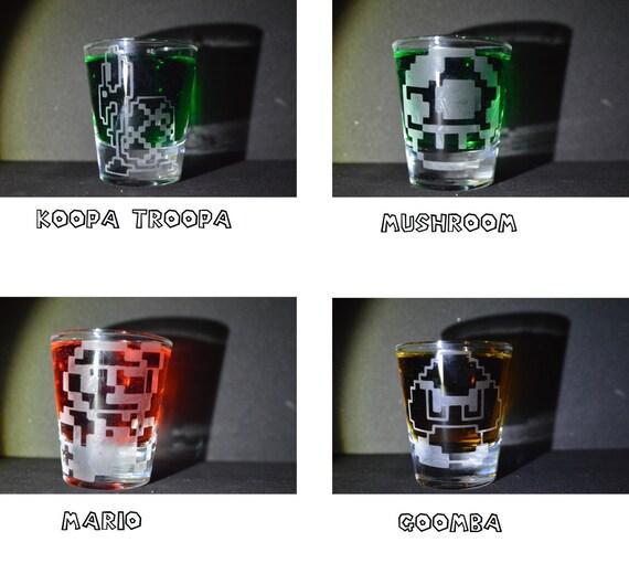 Retro 8 bit Mario sprite (single) etched shot glass