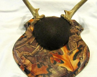 Taxidermy Plaque for Antler Mounting - Engraved Camo Shield