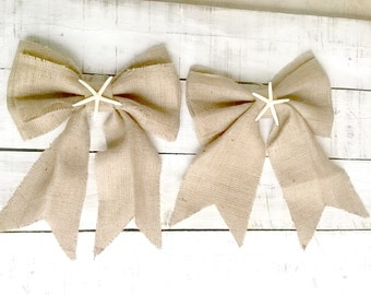 Burlap Bows - Wedding Bows with starfish - Pew End Bows - Burlap Chair Bow - Bow Decoration - Burlap Wedding Decor - Beach Wedding -Set of 6