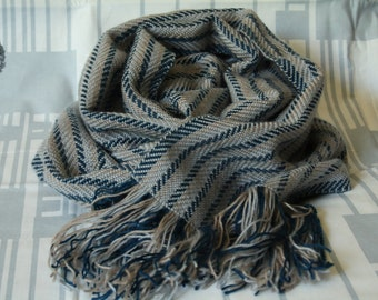 Blue with gray scarf