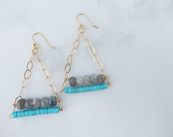 Turquoise and Labradorite Triangle Earrings / 14k Gold Earrings / Gemstone and Gold Earrings