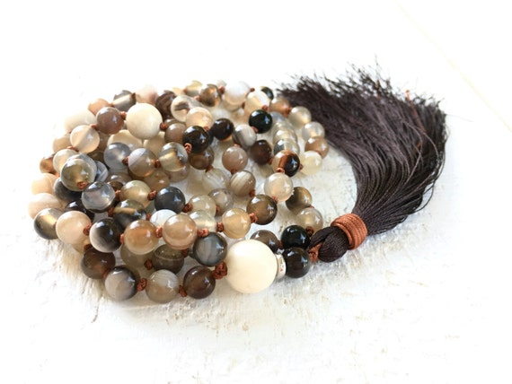 Emotional Healing Mala Necklace, River Stone Botswana Agate Mala Beads, 108 Mala Beaded Necklace, Yoga Practice Beads,