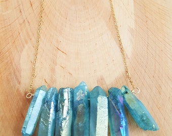 Raw Blue Aura Quartz Crystal Point Stone Bib Necklace On A 14K Gold Filled Chain / Crystal Quartz Necklace / Boho Necklace / Natural Stone
