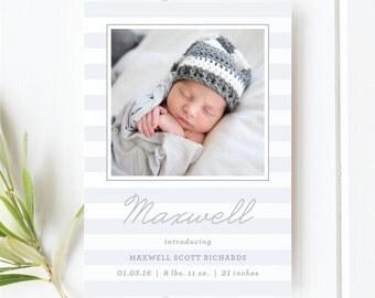 Baby Boy Stripe Birth Announcement | Photo Birth Announcement Card
