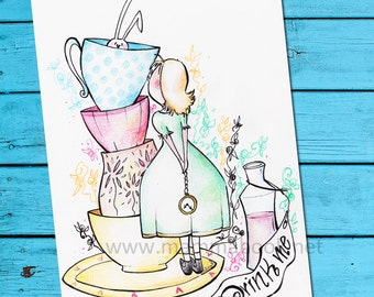 Birthday Card Tea Party with Alice and the White Rabbit