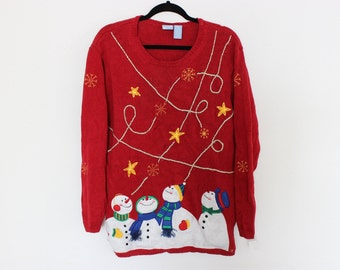 Ugly Christmas Sweater with Snowmen in a Meteor Shower  L 237