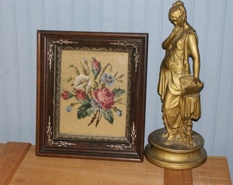 Beautiful Victorian Needlepoint Framed In Gorgeous Turn Of The Century Wood Frame