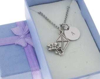 Antique Silver  Pewter Kite Necklace, personalized with hand stamped stainless steel initial charm.  Kite. Fly A Kite. Kite Jewelry.