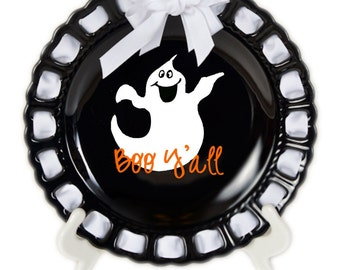 Personalized Halloween Plate ~ Prissy Plate ~ Monogram ~Ghost Plate~Trick or Treat~Halloween Decor~Halloween Platter~Halloween Gift