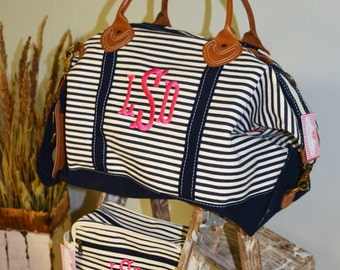 Monogrammed Navy Stripe Weekender Bag