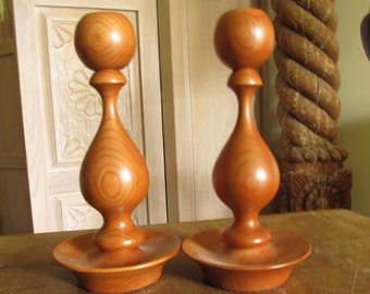 Cherry Wood Candlesticks Lathe Turned 1 Pair Beautiful