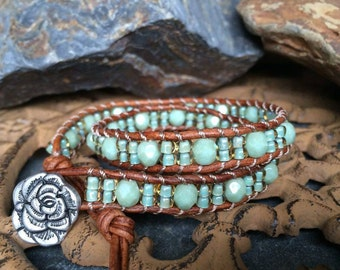 Sea foam green 2x leather wrap bracelet