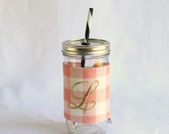 Personalized Tumbler Cup | Personalized Tumbler | Pink Buffalo Plaid | Tumbler Cup With Straw | Peach Tumbler